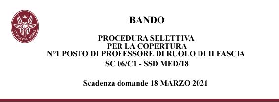 Procedura selettiva per la copertura di N. 1 posto di professore di ruolo di II fascia, SC 06/C1 - SSD MED/18