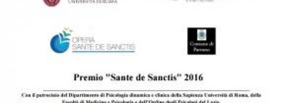 """XV Premio Scientifico in Psicologia e Psichiatria """"Sante de Sanctis"""""""