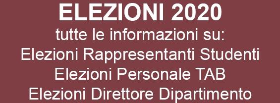 elezioni 2020: Rappresentanti Studenti, Personale TAB e Direttore Dipartimento