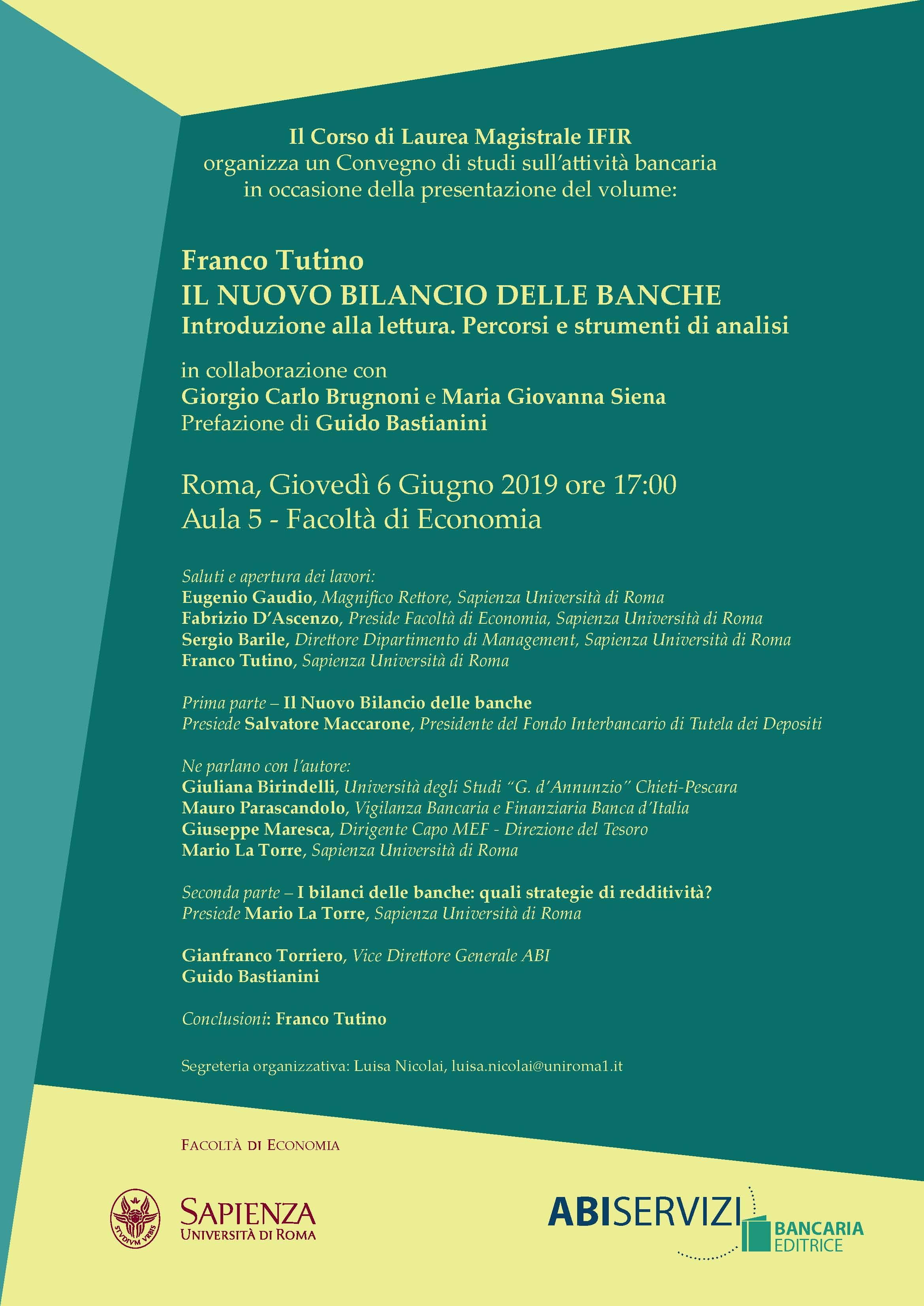 """000cdddd9e Nel corso dell'iniziativa, sarà presentata l'ultima opera di Franco Tutino  """"Il nuovo bilancio delle banche: introduzione alla lettura, percorsi e  strumenti ..."""