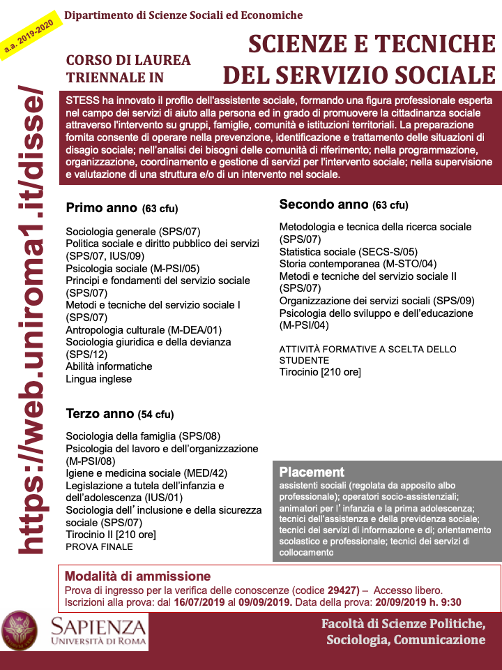 Calendario Accademico Sapienza 2020 2020.Didattica A A 2019 2020 Dipartimento Di Scienze Sociali