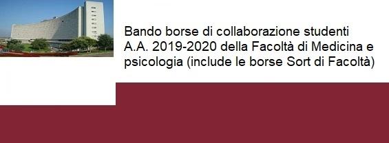 Bando borse di collaborazione studenti A.A. 2019-2020 della Facoltà di Medicina e psicologia (include le borse Sort di Facoltà)
