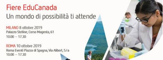 Fiera EDUCANADA 2019: Milano e Roma 8 e 10 ottobre