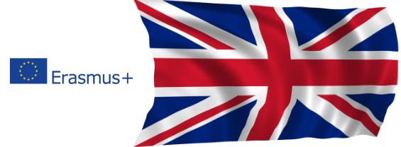 L'immagine mostra il logo Erasmus+ e la bandiera Inglese per mettere in evidenza il Bando Erasmus+ per le sole Università del Regno Unito (Area Medica)