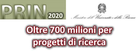 Bando PRIN 2020, oltre 700 milioni per progetti di ricerca