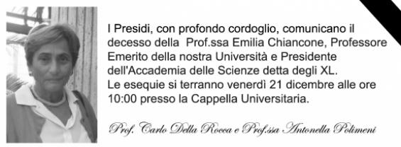 Scomparsa Prof.ssa Emilia Chiancone