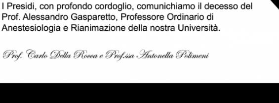 Scomparsa Prof. Alessandro Gasparetto