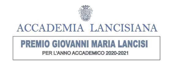 """Premio """"Giovanni Maria Lancisi"""" per l'Anno Accademico 2020-2021."""