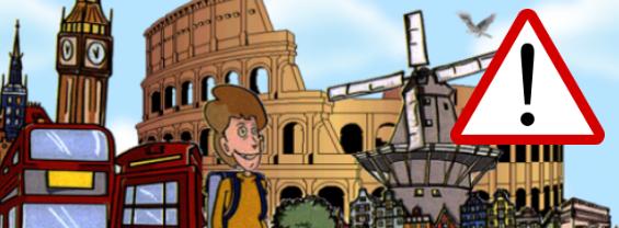 L'immagine mostra diversi monumenti e simboli delle principali città Europee, e un segnale di attenzione per mettere in risalto la presenza di un avviso importante.