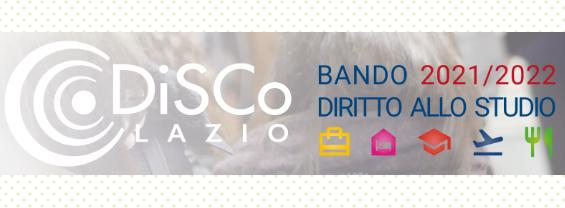 Bando Diritto allo studio DiSCo 2021/2022 Regione Lazio