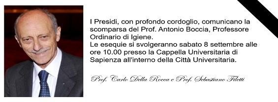 Scomparsa del Prof. Antonio Boccia