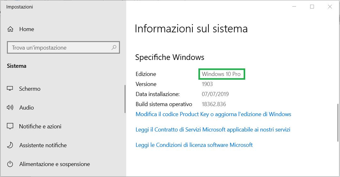 Specifiche Windows