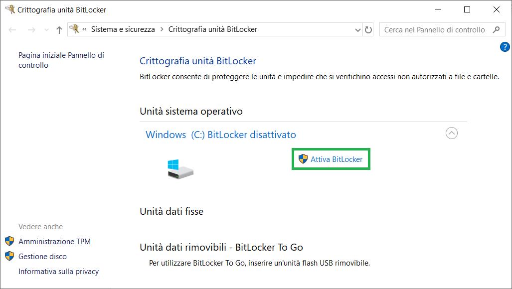 Crittografia BitLocker