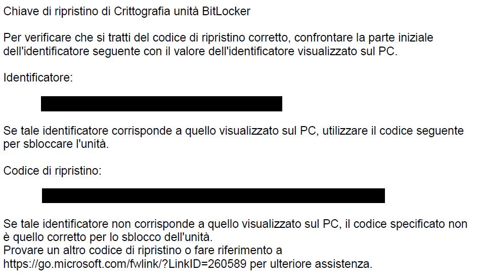 PDF chiave di ripristino