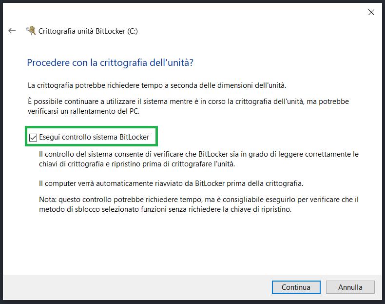 Controllo sistema BitLocker