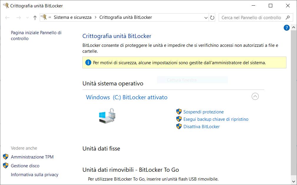 BitLocker abilitato