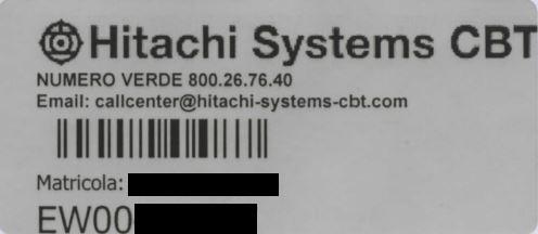 etichetta che riporta il numero di matricola del cespite Hitchi System CBT