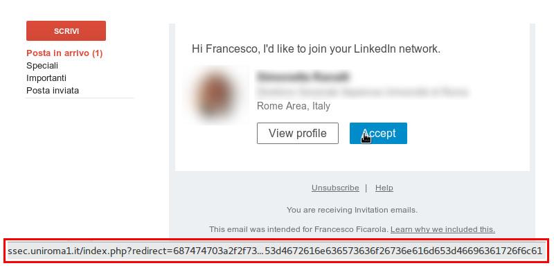 Mail di Phishing Linkedin