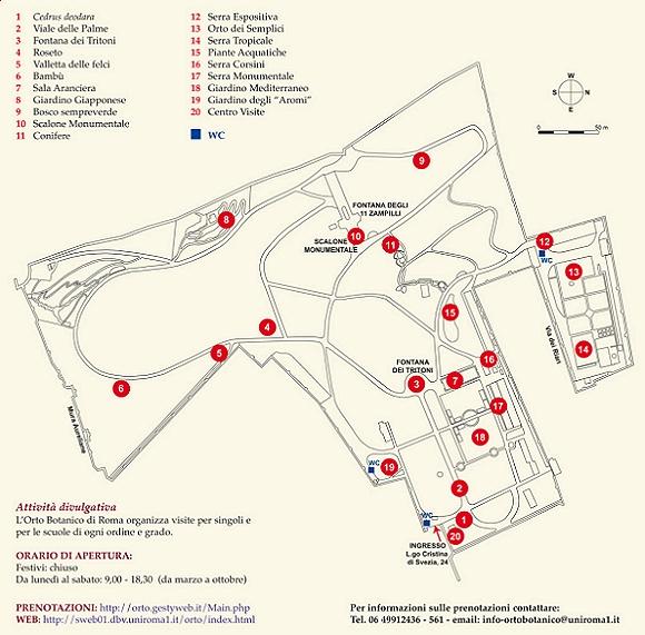 Carte du jardin botanique de Rome.