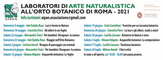Laboratori di arte naturalistica dell'Aipan all'Orto Botanico di Roma. Dal 9 maggio al 24 luglio 2021