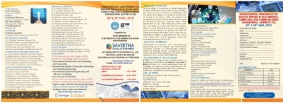 INTERNATIONAL CONFERENCE ON RECENT TRENDS IN ELECTRONICS, COMPUTING AND COMMUNICATION ENGINEERING - (ICRTECC-19)