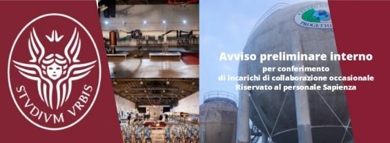 AVVISO PRELIMINARE INTERNO n 5  RISERVATO AL PERSONALE IN SERVIZIO PRESSO SAPIENZA UNIVERSITA' DI ROMA